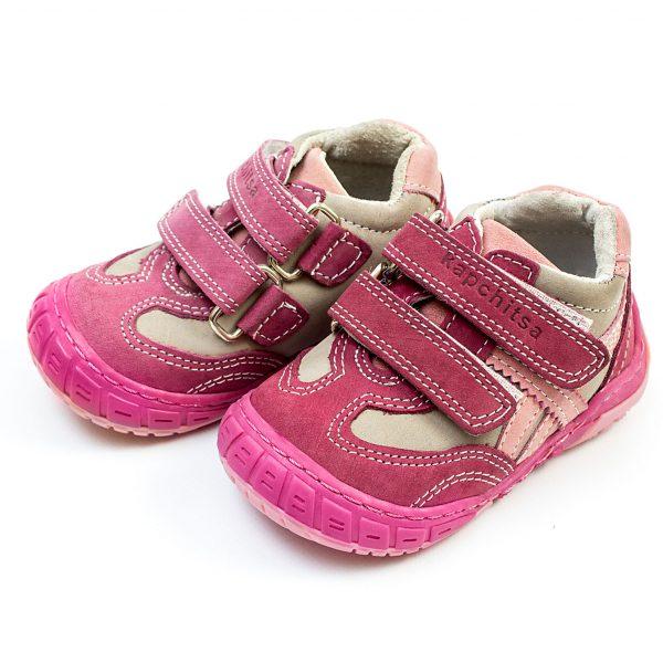 Детски обувки Капчица от естествена кожа за момиче в розово и лилаво с анатомично ходило