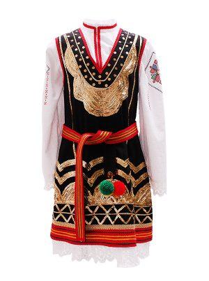 Детска шопска народна носия за момиче със златисти гайтани и бродерия