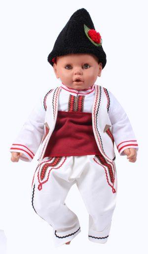 Бебешка народна празнична носия за момче в бяло от четири части