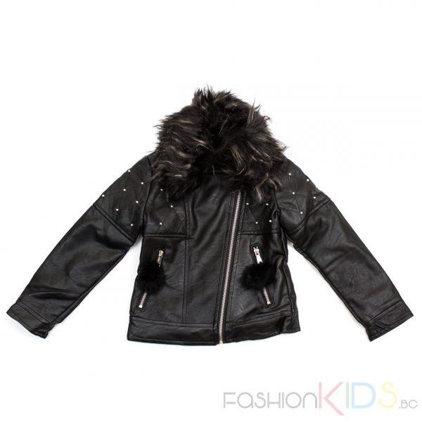 Детско кожено яке за момиче с пух