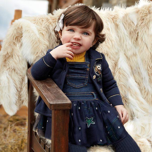 Бебешка дънкова рокля/ сукман MAYORAL с тюл в тъмносиньо с ефектни елементи