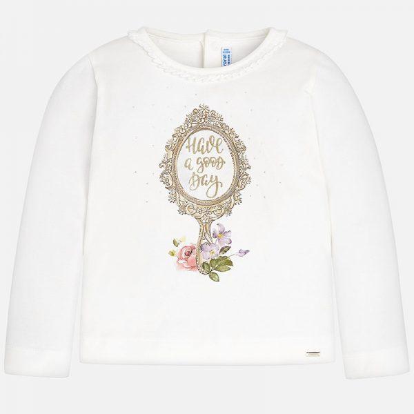 Детска блуза за момиче с дълъг ръкав. На гърба има две копчета за по-лесно обличане, а отпред декорация с апликации огледало, цветя и златни надписи. Тази красива блуза е изработена от мека еластична памучна материя, която е много удобна за носене.