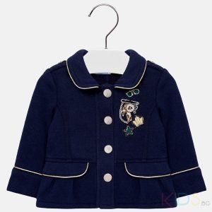 Бебешко официално сако за момиче MAYORAL в тъмносиньо и златист кант