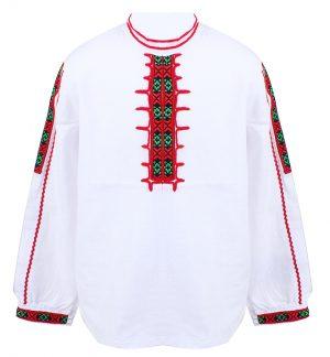 Детска народна риза за момче с бродерия и ширити