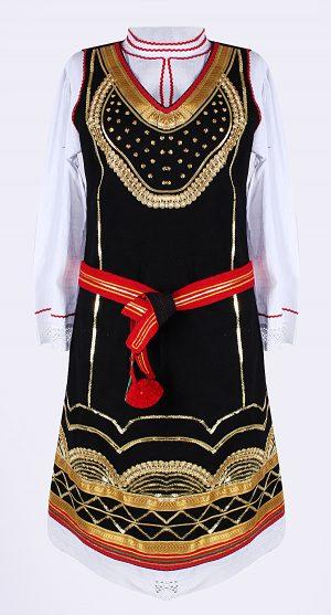 Детска шопска носия за момиче с гайтани и бродерия