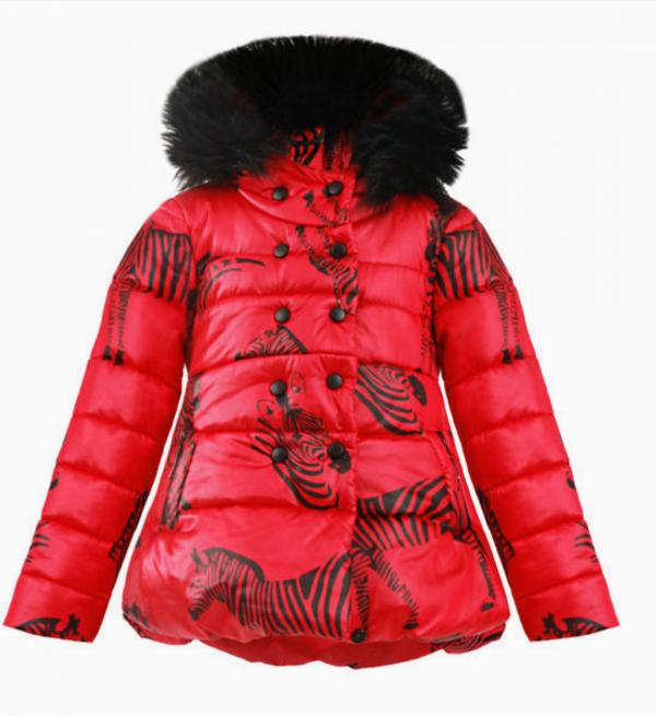 Червено дебело яке за момичета на Модна къща JUNONA с принт на зебри и качулка с еко косъм