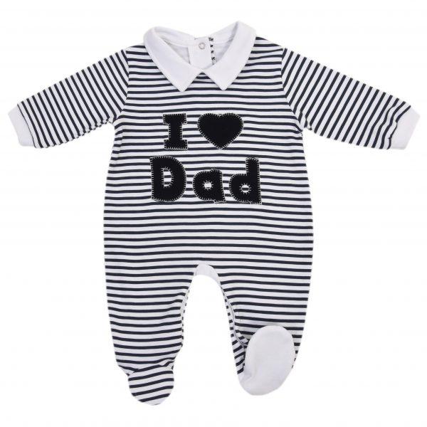 """Универсален бебешки гащеризон с яка """"Аз обичам тати"""" на тъмносини райета"""
