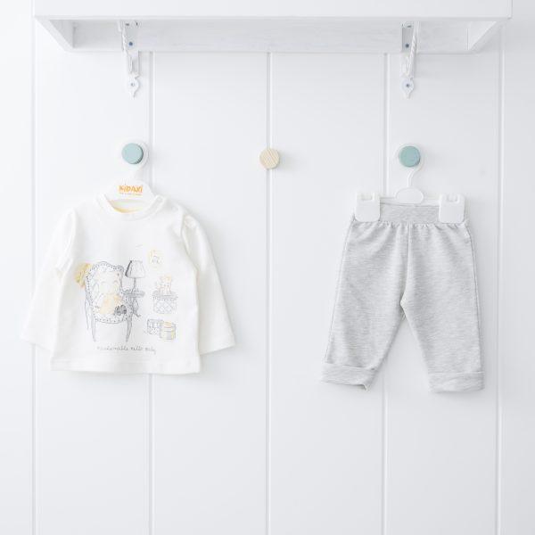 Бебешки трикотажен комплект от две части за момиче в жълто и сиво с щампа на мечоци и ефектни камъчета
