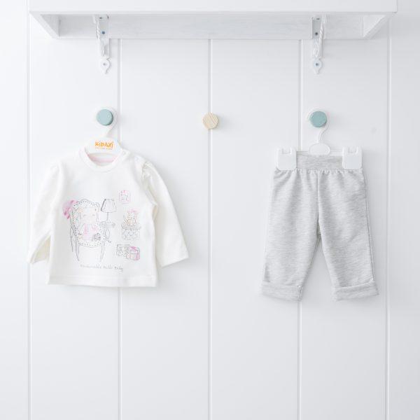 Бебешки комплект от две части за момиче в розово и сиво и щампа на мечоци