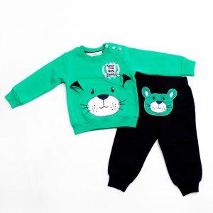 Бебешки трикотажен комплект от две части за момче с апликация на кученце в зелено