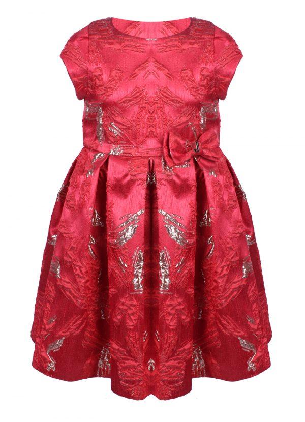 Официална детска рокля в червено със златна бродерия и панделка JUNONA