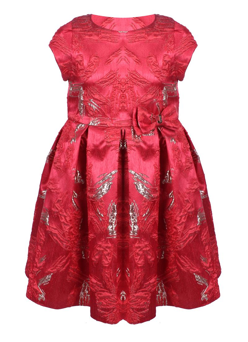 9541c71c0e4 Официална детска рокля в червено със златна бродерия и панделка JUNONA