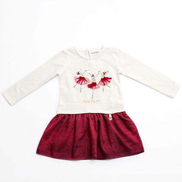 Детска трикотажна рокля с дълъг ръкав с балеринки и въртяща се долна част