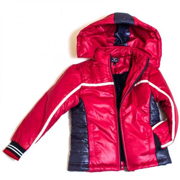 Детско червено зимно яке за момче с качулка