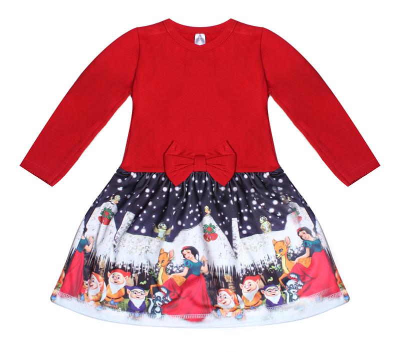 bfbf4d05790 Детска коледна рокля със Снежанка и джуджетата с дълъг ръкав в ...