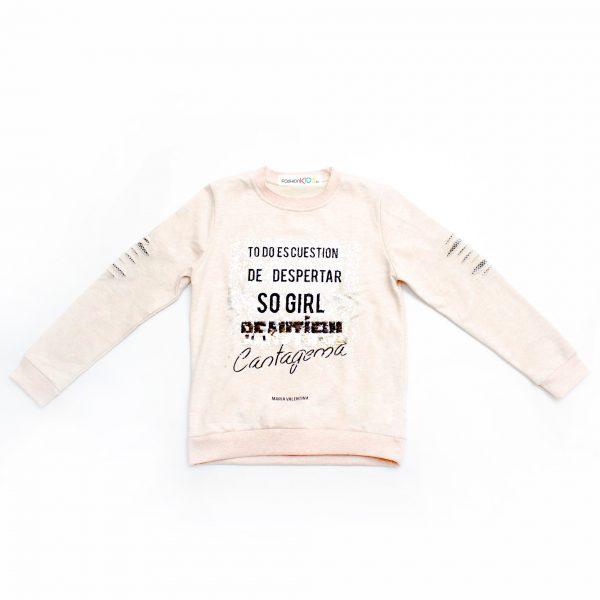 Детска трикотажна блуза за момиче с блестящ ефект, обръщащи се пайети и накъсан ефект на ръкава