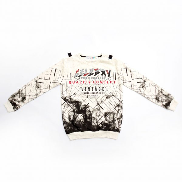 Модерна блуза за големи момчета с ефектна щампа и надпис