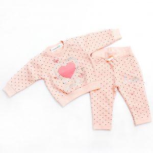 Бебешки комплект от две части за момиче с принт на звездички и щампа със сърце