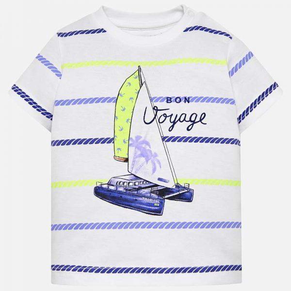 Бебешка тениска MAYORAL за момче с платноходка на цветни райета