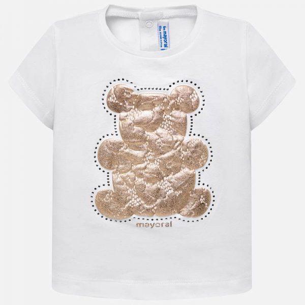 Бебешка тениска за момиче с нежна апликация на мече oт колекция Пролет-Лято 2019 на MAYORAL