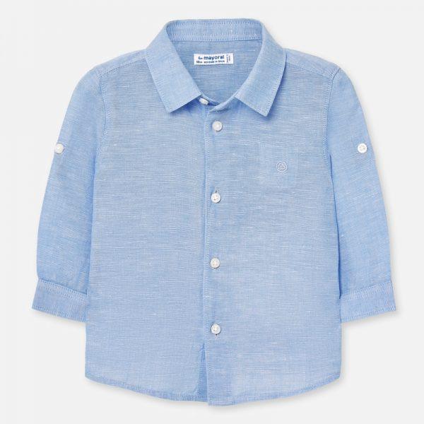 Бебешка ленена ризаMAYORAL с дълъг коригиращ се ръкав за момче в синьо.