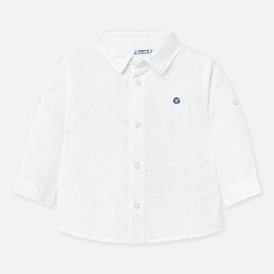 Бебешка ленена риза с дълъг коригиращ се ръкав за момче на MAYORAL в модерен принт на точки.