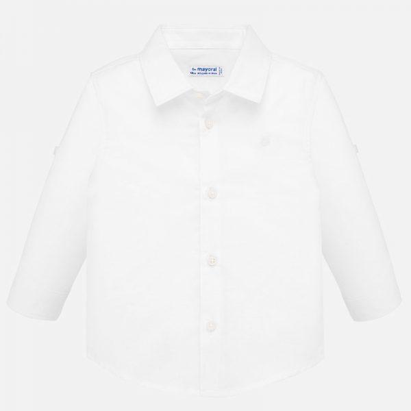 Бебешка ленена риза с дълъг ръкав за момчеoт колекция Пролет-Лято 2019 на MAYORAL в бяло