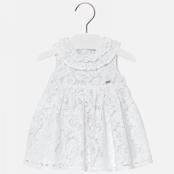 Официална бебешка рокля от бяла дантела от колекция Пролет- Лято 2019 на Mayoral.
