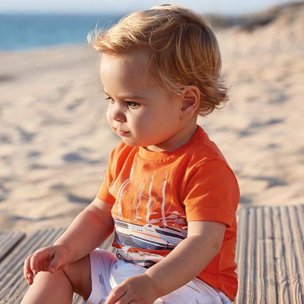 Бебешка тениска за момче MAYORAL с морски принт от колекция Пролет/ Лято 2019 на MAYORAL