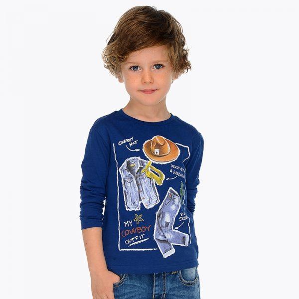 Блуза с дълъг ръкав за момче в тъмносиньо от колекция Пролет- Лято 2019 на MAYORAL.