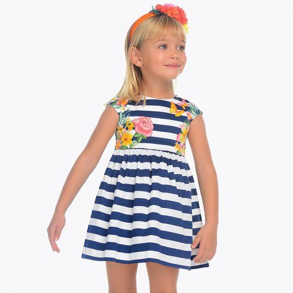 Детска рокля на райета и с принт на цветя от колекция Пролет-Лято 2019 на MAYORAL.