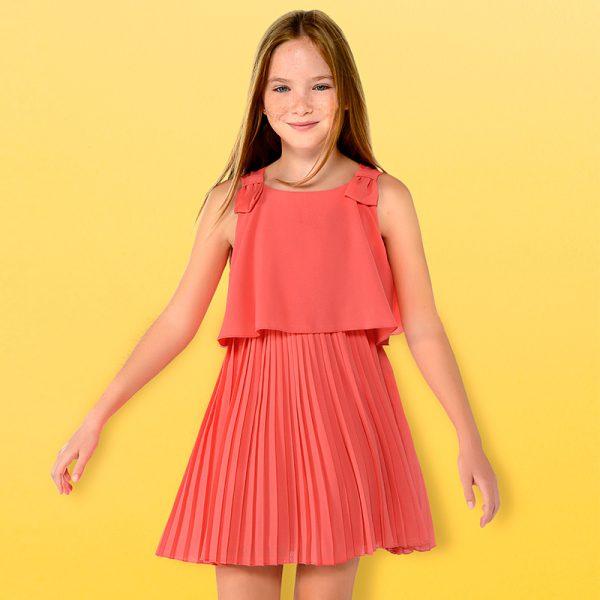 Детска плисирана рокля oт колекция Пролет-Лято 2019 на MAYORAL в корал