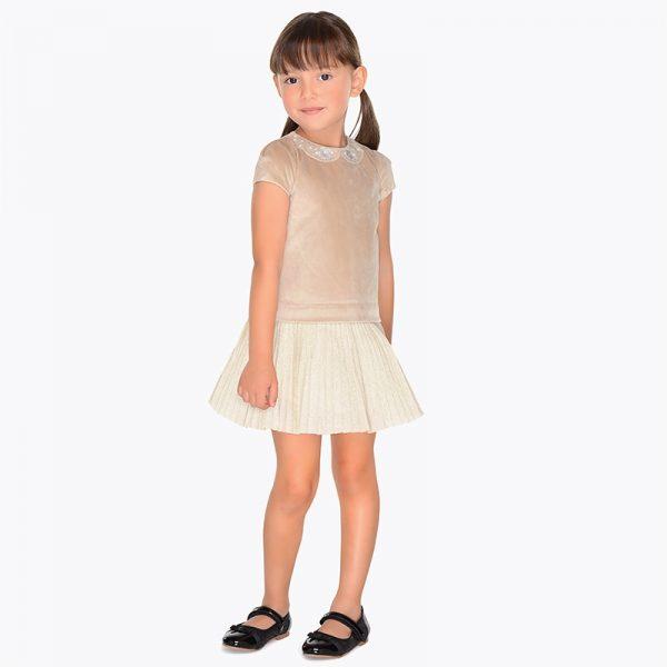 Детска рокля с къс ръкав от колекция Есен-Зима 2018 на Mayoral в златисто