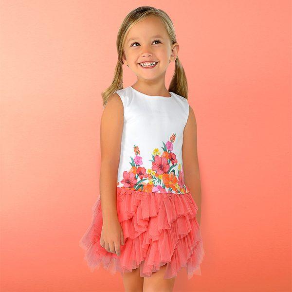 Детска рокля с тюл и цветя oт колекция Пролет-Лято 2019 на MAYORAL