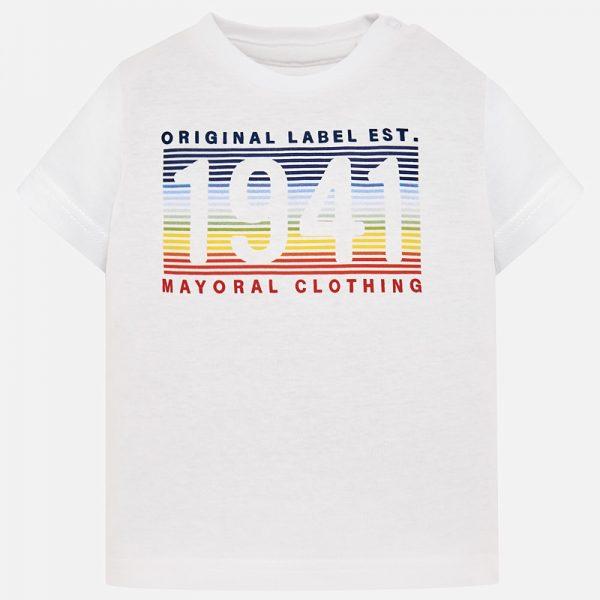 Бебешка тениска за момче в бяло с цветен принт от колекция Пролет- Лято 2019 на MAYORAL.