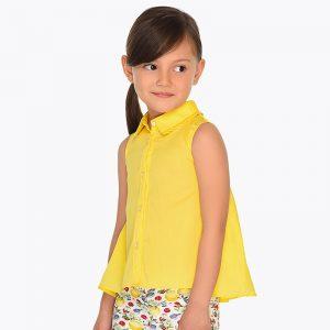 Детска удължена риза за момиче в жълто от колекция Пролет - Лято 2019 на MAYORAL.