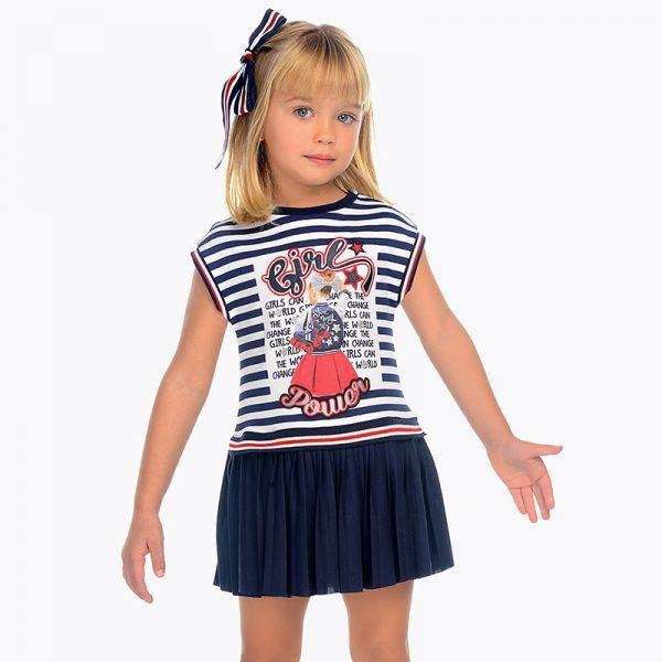 Детска плисирана трикотажна рокля от колекция Пролет- Лято 2019 на MAYORAL.