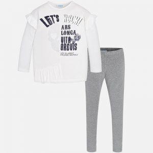 Детски комплект туника с клин за момиче в бяло и сиво от колекция Есен-Зима 2018