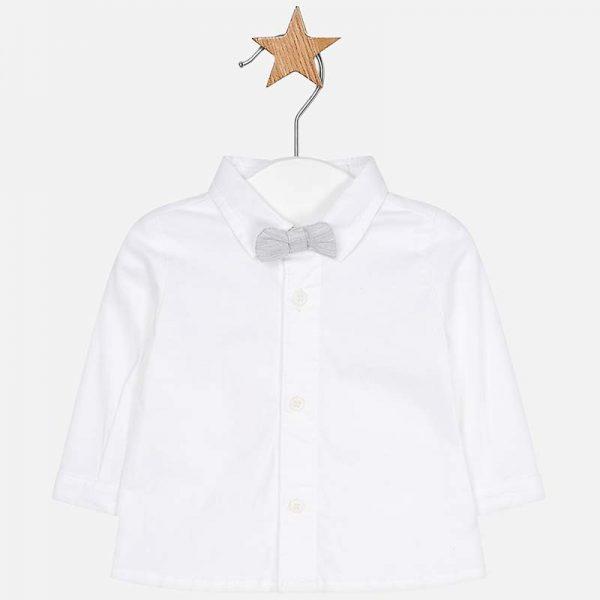 Бебешка риза за момче с папионка в бяло от колекция Пролет- Лято 2019 на MAYORAL