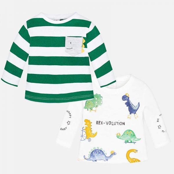 Бебешка блузка за момче с динозаври от колекция Пролет- Лято 2019 на MAYORAL в бяло и райе