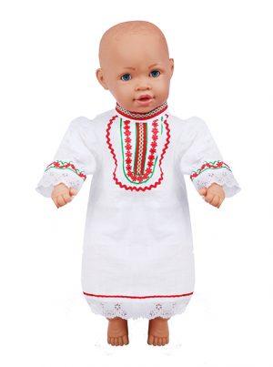 Бебешка народна риза за момиче с ширити и дантела