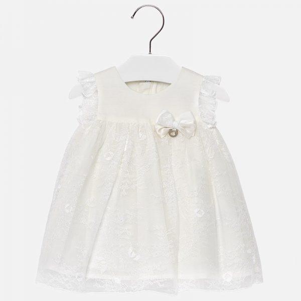Официална бебешка рокля от дантела в бяло от колеция Пролет- Лято 2019 на MAYORAL.