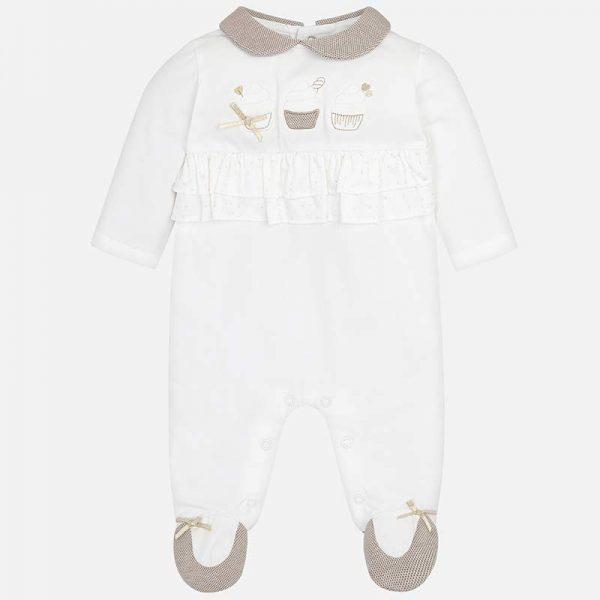 Бебешки гащеризон за момиче от колекция Пролет- Лято 2019 на MAYORAL с яка и декорация с дантела.