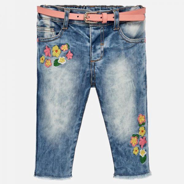 Бебешки дънки за момиче с бродерия и колан от колекция Пролет- Лято 2019 на MAYORAL