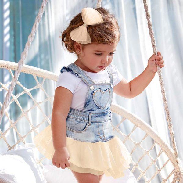 Бебешки дънков сукман с тюл от колекция Пролет- Лято 2019 на MAYORAL