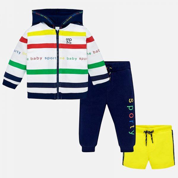 Бебешки спортен комплект за момче от три части от колекция Пролет- Лято 2019 на MAYORAL пъстри райета
