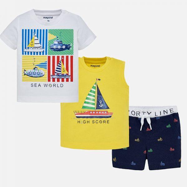 Бебешки трикотажен комплект за момче от три части от колекция Пролет- Лято 2019 на MAYORAL с къси панталони