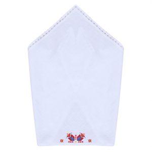 Бродирана памучна кърпа в бяло