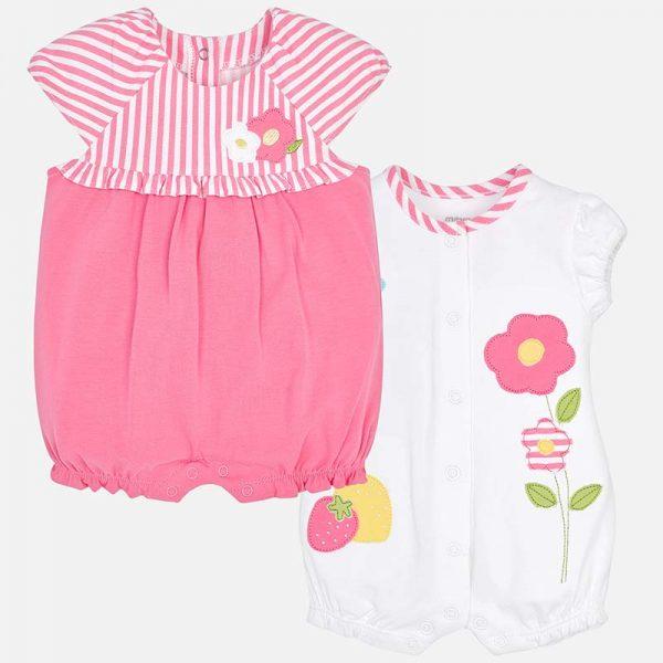 Бебешки гащеризон/ ромпър за момиче от колекция Пролет- Лято 2019 на MAYORAL в цикламено и бяло.