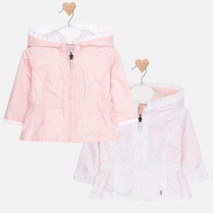 Двулицево бебешко яке за момиче от колекция Пролет- Лято 2019 на MAYORAL в розово с подвижна качулка.